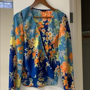 Floral cross over blouse